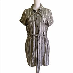 BUTTON FRONT GRAY WHITE STRIPE CASUAL SHIRT DRESS